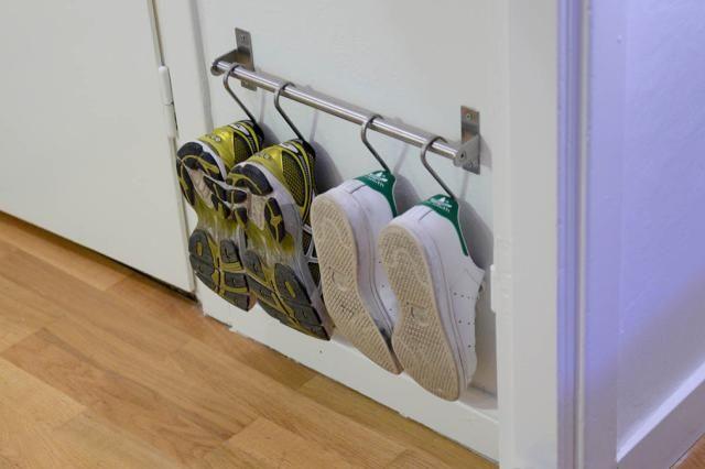 19 Hanging Storage Hacks to Get Your Home Super Organized: GRUNDTAL Sneaker Storage Hack