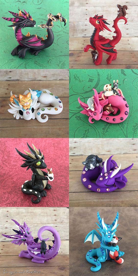 Dragon Pets Sale August 14 by DragonsAndBeasties.  dragons and kitties!