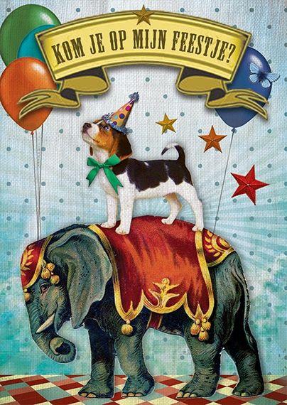 Uitnodigingen verjaardag circushondje