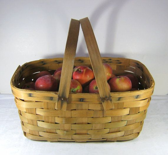 Vintage Orchard Basket Farm Rustic Picnic Style or Storage! by LavenderGardenCottag