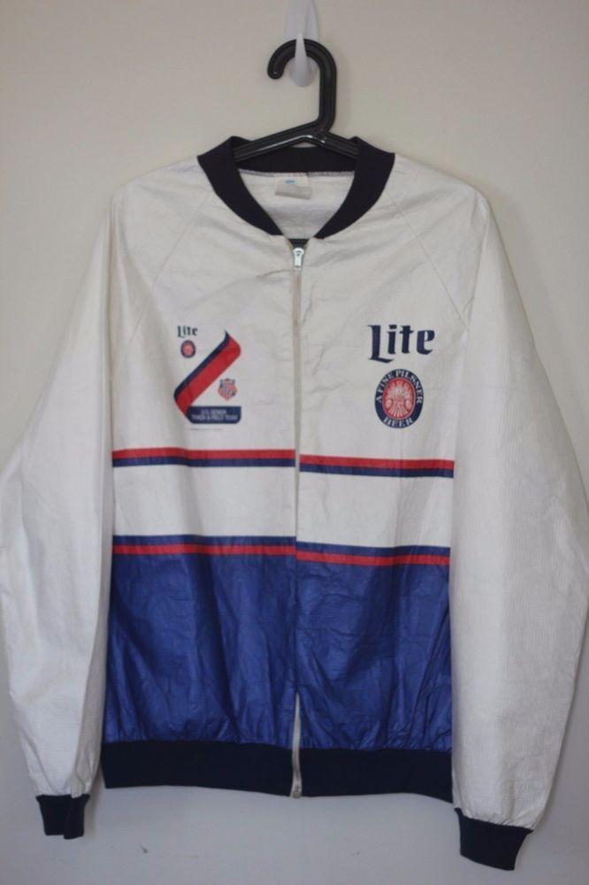 Vintage jacket tyvek sz l miller lite beer usa track field milwaukee brewers