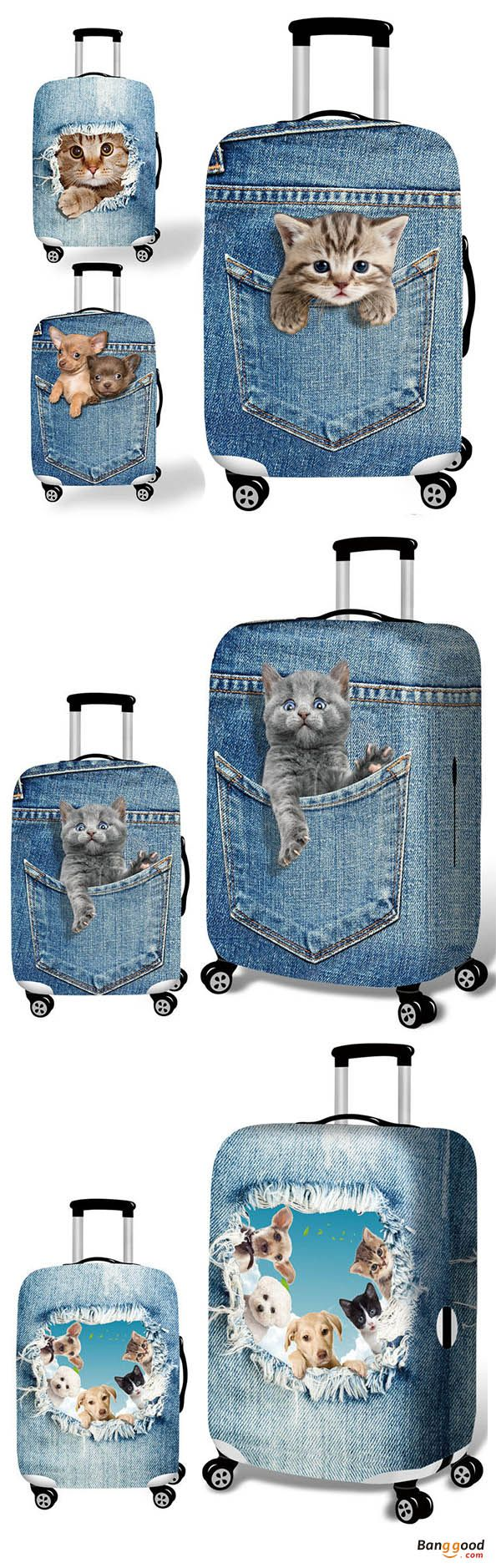 Honana Denim 3D Cute Cat Dog Elastic Luggage Cover Trolley Case Cover Durable Suitcase Protector for 18-32 Inch Case Warm Travel Accessories. 3D Cute Cat Dog, denim cover, a special suitcase. Shop now!