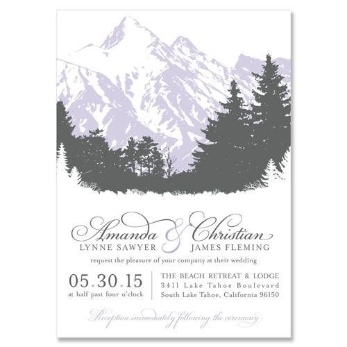 Scenic Wedding Invitation in Pewter & Lavender | by The Green Kangaroo, Inc.