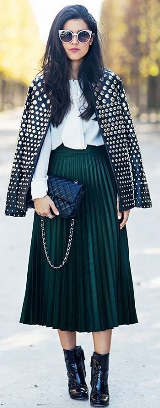 Carolines Mode Green Pleated Midi Skirt Studded Jacket Fall Street Style Inspo
