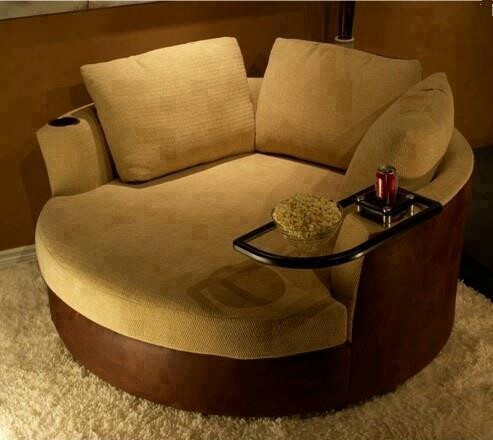 Comfy Round Chair With Attached Table Home Furnishings