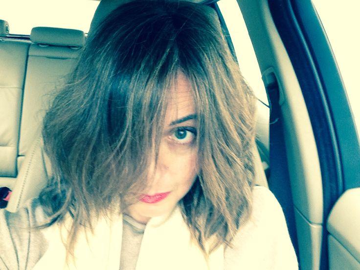 Hair style . Winter mood . Medium lenghr