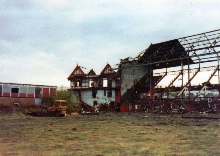 The Doll's House and triple gable grandstand at Bradford PA, in the throes of demolition in 1980