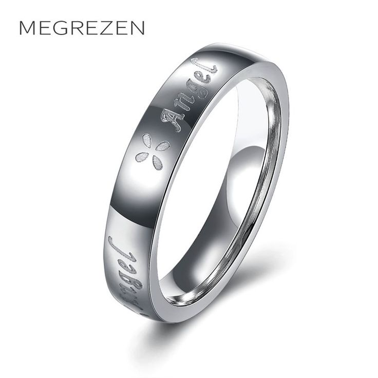 MEGREZEN Stainless Steel Engagement Rings Decorations For Women Vintage Ring Anillos De Acero Inoxidable Para Las Mujeres R165-4 #Affiliate