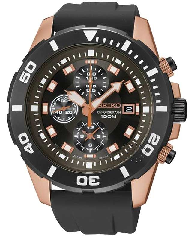 SEIKO Sport Chronograph Black Leather Strap Η τιμή μας: 276€ http://www.oroloi.gr/product_info.php?products_id=32124