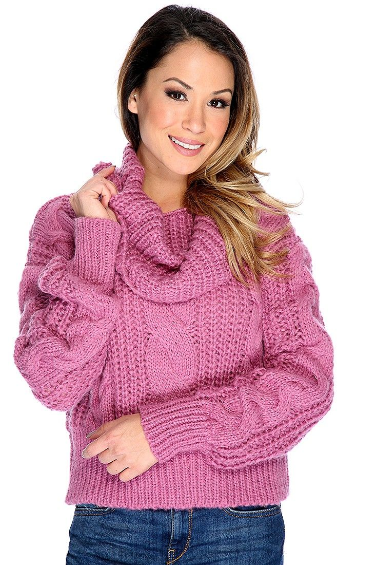 799697729 Mauve Long Sleeve Cable Knit Cowl Neck Oversized Sweater in 2019 ...