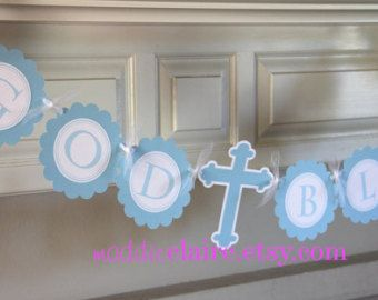 Baptism / First Communion Cross Banner. от CharmingTouchParties