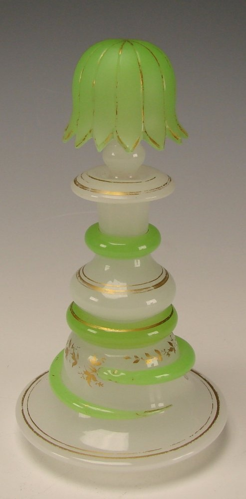 Antique French Opaline Stourbridge Richardson Glass Snake Perfume Scent Bottle