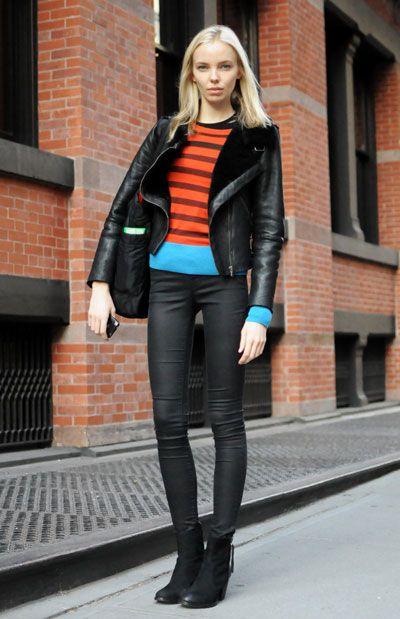 Because I love stripes and a good moto jacket.