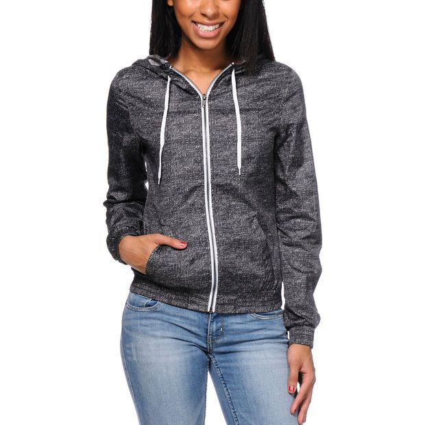 Zine Girls Black Printed Windbreaker Jacket at Zumiez : PDP