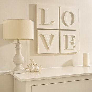 Great gift idea!! Use white painter's canvas and glue on painted wood letters to create such a beautiful wall display! You can create words, favorite sayings, monograms/dates for a newlywed or newborn gift... love this ♥
