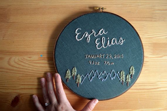 Custom Name Embroidery Hoop - Baby Name Embroidery - Birth Announcement - Nursery Wall Art - Embroidery Hoop Art - Gender Neutral - Baby Boy