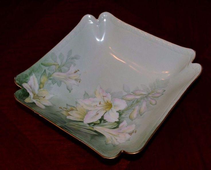 Antique PT Tirschenreuth Porcelain Square Bowl, Green & Pink Floral, 8 In EX!
