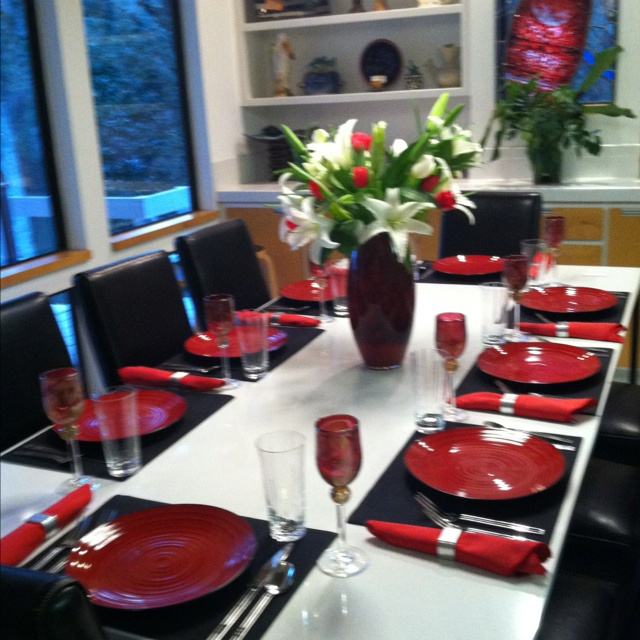 Dinner Party Red Black And White