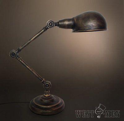 Vintage Industrial Steampunk Table Desk Lamp Rustic Study Reading Ligh – westmenlights--Edison industrial lighting supplier and designer