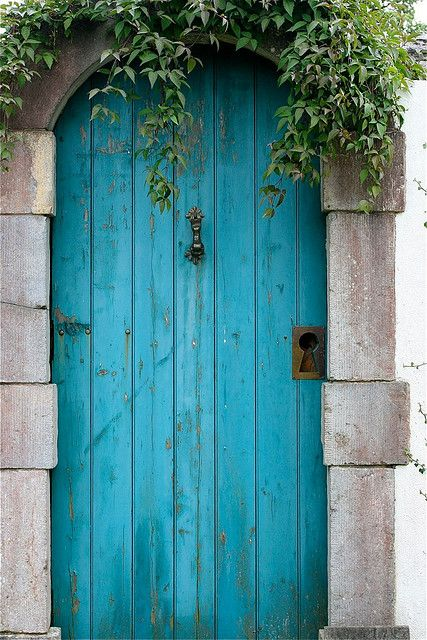 Old Blue Door, Ireland...Love these turquoise rustic doors, remind me of movie Under the Tuscan Sun -Mari (which is my dream)