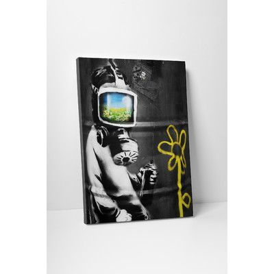 """PingoWorld """"Gas Mask Reflection"""" by Banksy Painting Print on Wrapped Canvas Size: 20"""" H x 16"""" W x 0.69"""" D"""