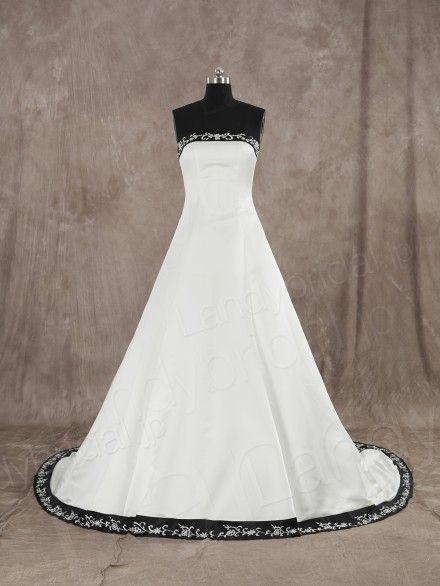 ウェディングドレス Aライン サテン アイボリーブラック 刺繍 くるみボタン 編み上げ式 JWLT15005