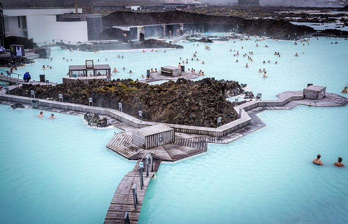Relaxing in The Blue Lagoon, Iceland.
