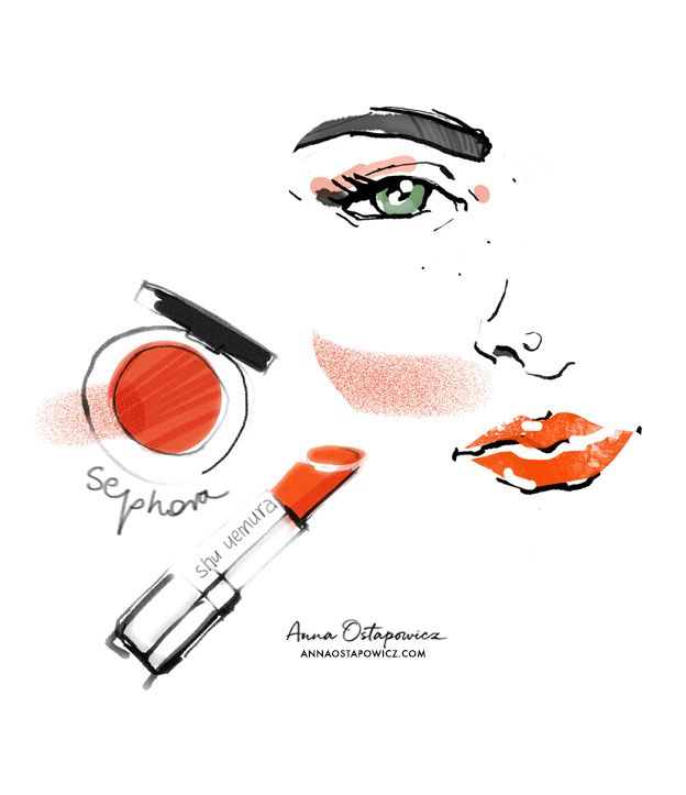 Red Lips Makeup, Illustration Anna Ostapowicz