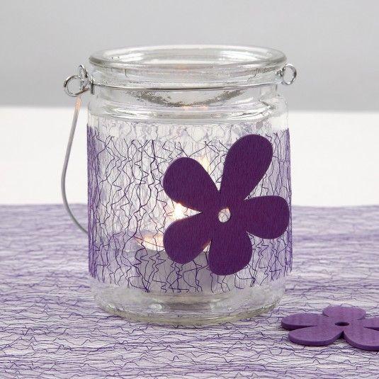 Lysglas med bælte af lilla net, isat træblomst |DIY vejledning