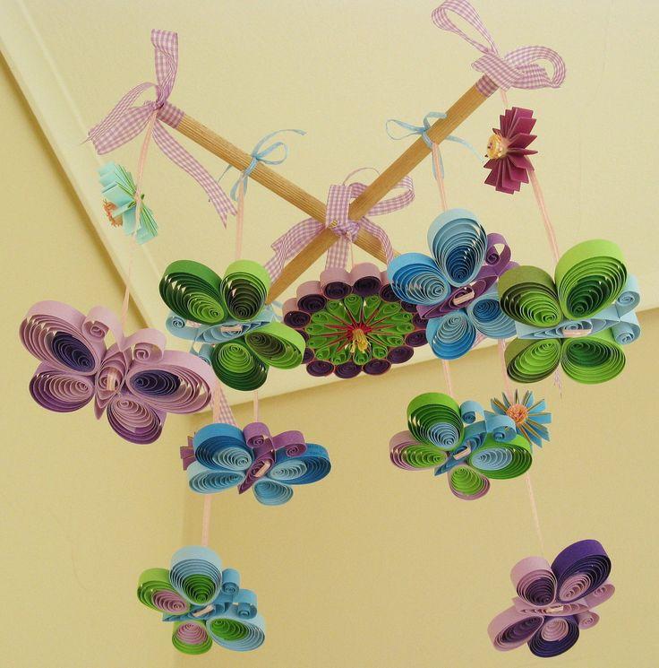 Handmade Mobile - Butterfly Mobile - Baby Mobile -  Baby Girl Mobile Quilled - Spring Mobile - Mobile - Lavender Blue Green. $65.00, via Etsy.