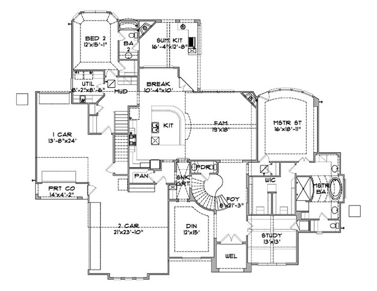 First Floor Plan of House Plan 77809