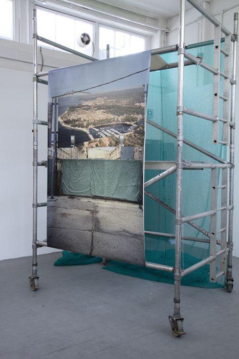 Exhibition view   244 x 142 cm canvas C-type print  308.4 x 194 cm scaffolding