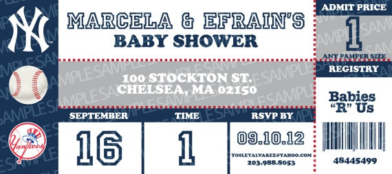 NY Yankee Sports Ticket Baby Shower Invitation  by designvine, $20.00