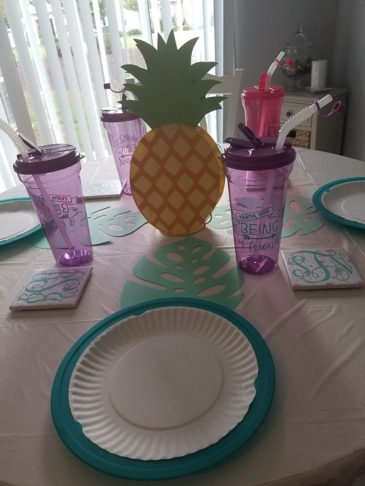 Golden girls themed party/ Friendship day Table setting. #pineapple#tropical#teal#purple#pink#friendship#monogram#diy#tilecoasters#cricut  Visit me on FB @ WhoooCrafts