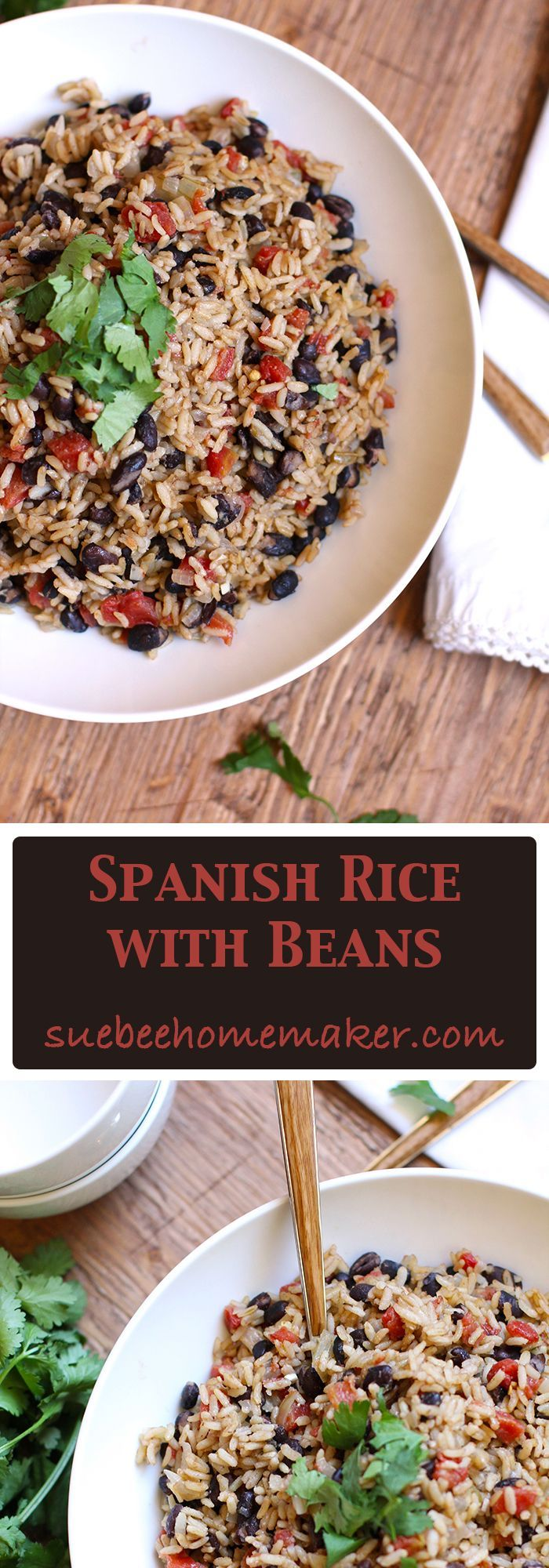 Spanish Rice with Beans is the perfect side dish for any Mexican Fiesta, or for a simple chicken dinner. The HOT Rotel adds a spicy kick!