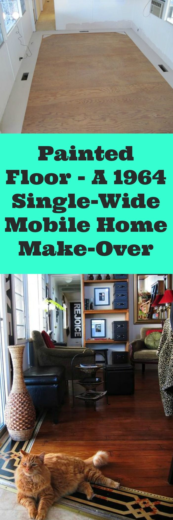 Painted Floor   A 1964 Single Wide Mobile Home Make Over
