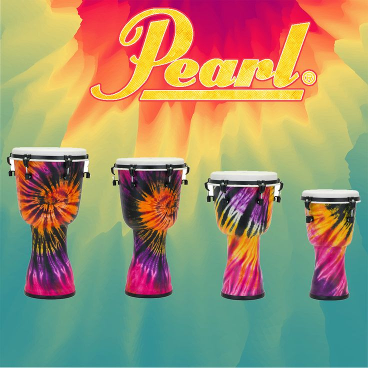 Pearl Synthetic Top Tune Djembe --- Bring a little color to your playing with these awesome tie dye djembes!  #Pearl #Djembe #PearlDjembe #Drums #Percussion #Percussionist #AmericanMusical #AmericanMusicalSupply