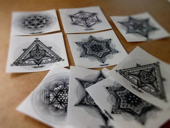 Set 10 Aufkleber Sacred Geometry  von Hakam Hisim Hippie Goa Art Kunst Sticker