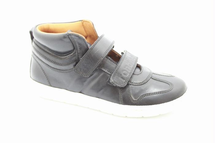 Half hoog klittenband schoen van het merk Rondinella, Zwart leer