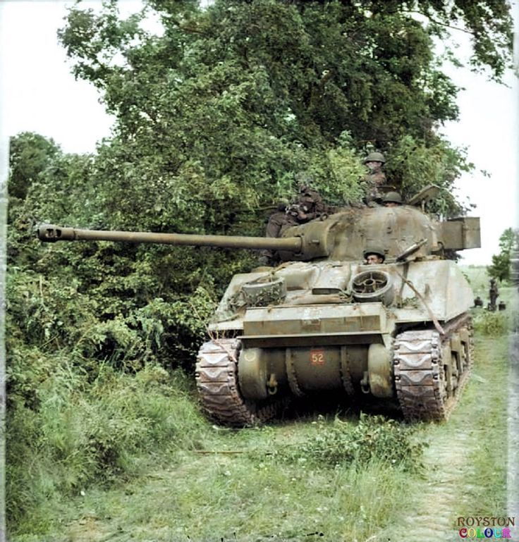 A British Sherman VC 'Firefly' of 'C' Squadron, The Staffordshire Yeomanry, 27th Armoured Brigade in the vicinity of Lebisey Wood, north of Caen, Normandy.  7th -13th of June 1944.