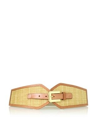 Vince Camuto Women's Raffia Inlay Stretch Belt (Natural)