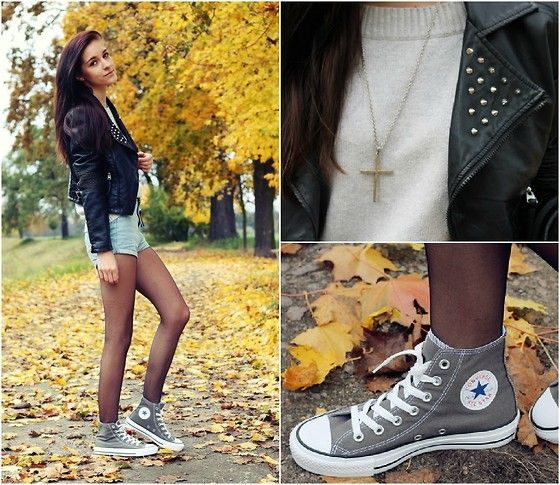 Normally don't like tights and shorts but this is super cute-- Grey Converse (by Leona Melíšková) http://lookbook.nu/look/4169902-Grey-Converse