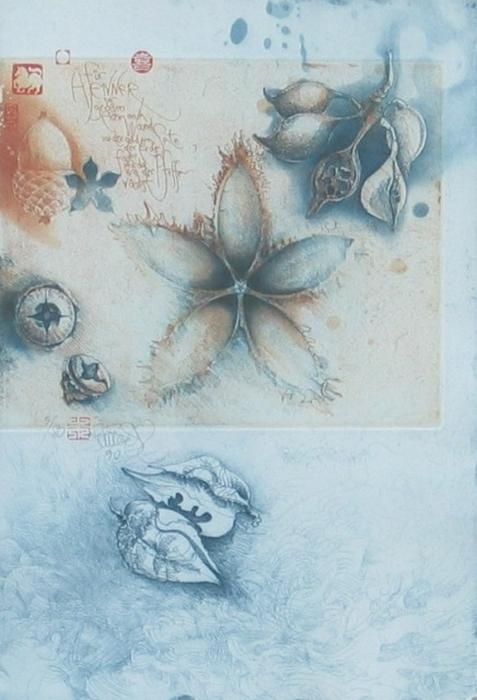 """German printmaker Jorg Schmeisser's nature images. """"Many of his plate were prepared in situ, the images drawn directly onto the plate."""" art historian Eric Denker."""