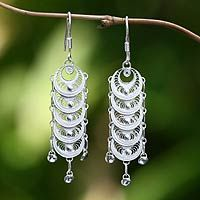 Sterling silver drop earrings, 'Moon Legends' by NOVICA