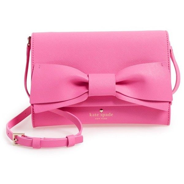kate spade new york 'clement street - francie' textured leather clutch (€200) ❤ liked on Polyvore featuring bags, handbags, clutches, pink bow purse, bow handbag, kate spade handbag, pink purse and pink handbags