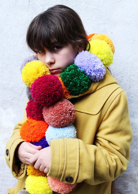 Oh Yes! I love this pom pom scarf from leftover yarn using Clover Pom-Pom Maker.  Do you NEED a pom pom maker too??http://www.clothkits.co.uk/maker-clover-pompom-bobble-maker-p-340.html