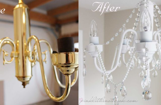 DIY White Chandelier with Crystals!