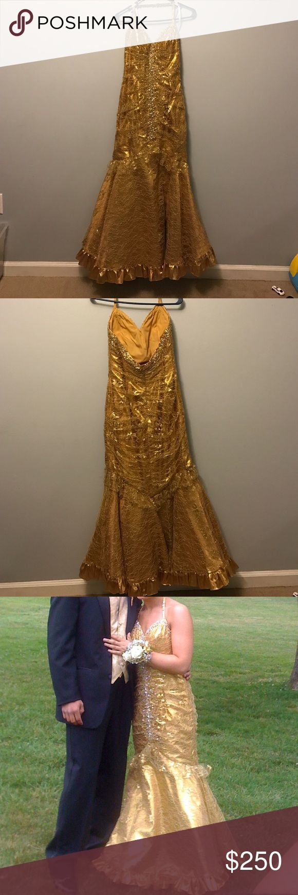 Gold Sequined Prom Dress Gold prom dress. Worn once. Great Condition Dresses Prom