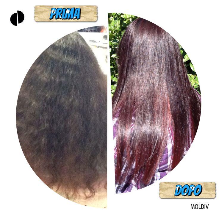 Angelica indossa un degradè JOELLE young viola scuro e un tagliopuntearia per santificare i capelli senza rinunciare alla lunghezza!