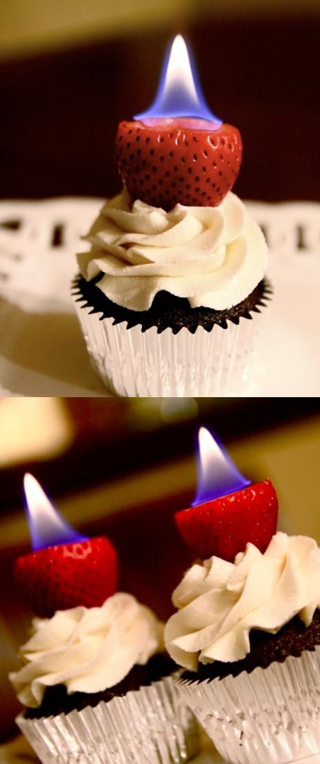 Flaming Cupcakes with pear Vodka-filled strawberries. Perfect for an adult birthday party!